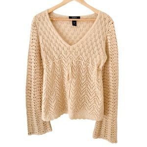 Bohemian Crochet Knit Sweater with Bell Sleeves